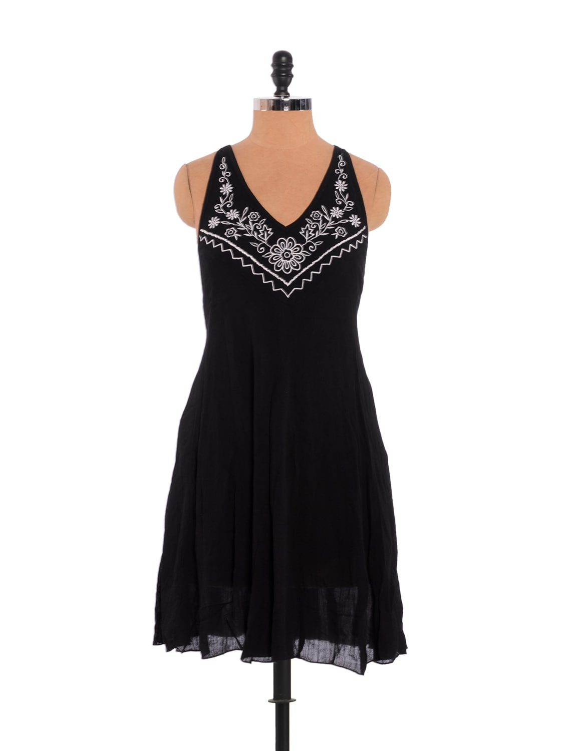 Floral Embroidered Black Dress With Stylish Back - URBAN RELIGION