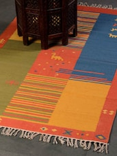 Attractive Blue And Yellow Patterned Floor Carpet - Dorahomes