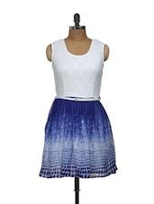 White And Blue Lacy Dress - Shilpkala