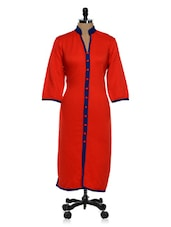 Bright Red Kurta With Front Slit - Tissu