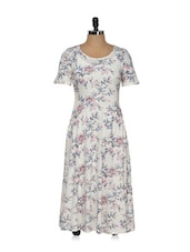 White Floral Printed Midi Dress - Magnetic Designs