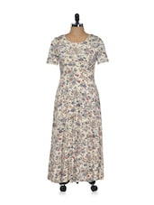 Beige Floral Printed Midi Dress - Magnetic Designs