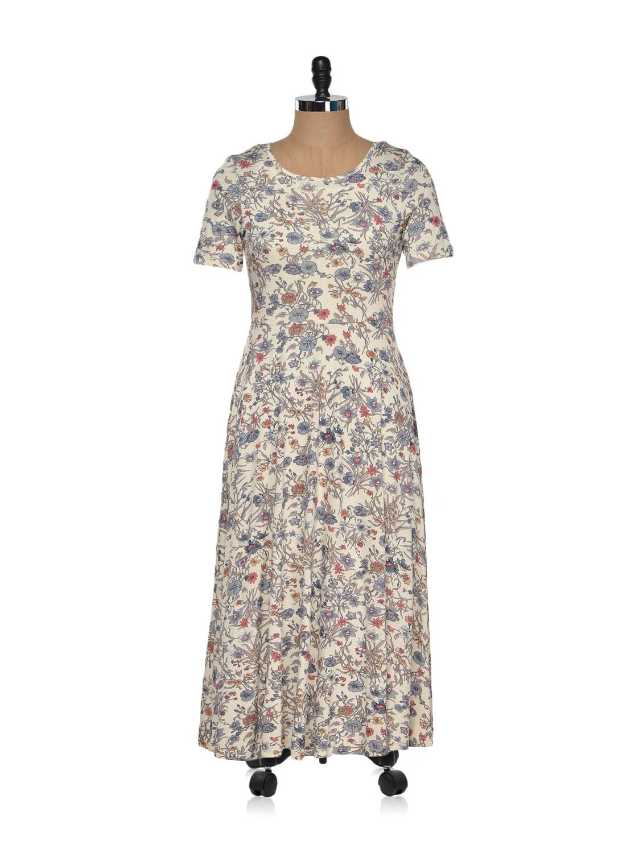 Beige Floral Printed Midi Dress - Magnetic Designs