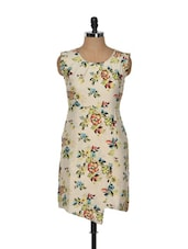 Beige Floral Printed Asymmetrical Dress - Magnetic Designs