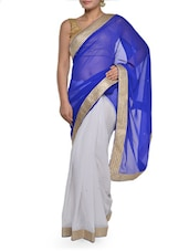 White And Blue Saree With Gold Border - Sascreations