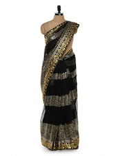 Gorgeous Black Sequined Saree With Gold Floral Border - Sascreations