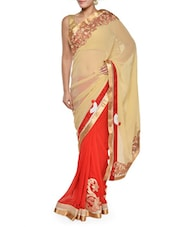 Lovely Beige And Red Saree With Gold Border - Sascreations