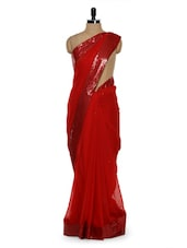 Solid Red Saree With Sequined Border - Sascreations