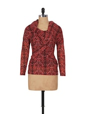 Red Black Full-sleeved Woolen Top - SPECIES