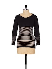Black Striped Round Neck Sweater - SPECIES