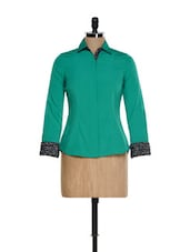 Green Formal Shirt With Printed Cuffs - Kaaryah