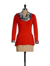 Red With Black And Grey Cowl Neck Top - Kaaryah