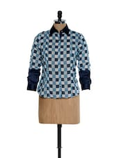 Blue And White Check Print Formal Shirt - Kaaryah