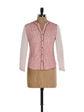 Pink Printed Top With A Button Down Placket - Kaaryah