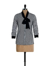 Black & White Striped Bow Tie Shirt - Kaaryah