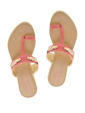Gold Trim Pink Slip-on Sandals - Camroose