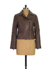 Brown Quilted Biker Jacket - THEO&ASH