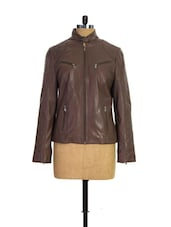 Brown Zippered Leather Jacket - THEO&ASH