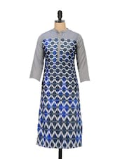 Grey And Blue Printed Tunic - Meira