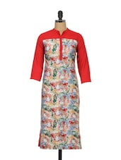 Red Floral Print Full-sleeved Tunic - Meira