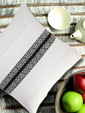 White Pleated Cushion Cover With Centre Border - ANS