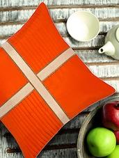 Orange Cushion Cover With Criss Cross Brocade Patti - ANS