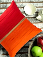 Red And Orange Broad Pleated Cushion Cover With Gold Band - ANS