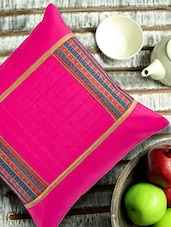 Pink Cushion Cover With Multicolor Border Patch - ANS