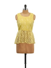 Yellow Lace Peplum Top - Schwof