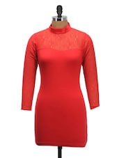 Red High-neck Dress - Schwof