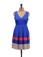 Blue Pleated V-neck Dress - Schwof