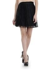 Chic Black Net A-line Skirt - Schwof
