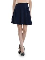 Blue Gathered A-line Skirt - Schwof