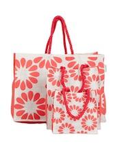 Flower Print Gift Bag (Set Of 3) - Greenobag