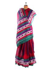 Amazing Pink Printed  Bhagalpuri Silk Saree With Blouse Piece - Riti Riwaz