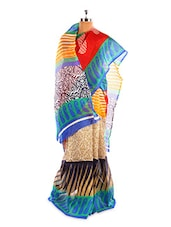 Lovely Printed Bhagalpuri Silk Saree With Blouse Piece - Riti Riwaz