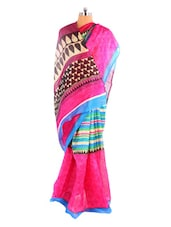 Elegant Pink Printed Bhagalpuri Silk Saree With Blouse Piece - Riti Riwaz