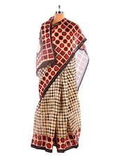 Graceful Black And Brown Printed Bhagalpuri Silk Saree With Blouse Piece - Riti Riwaz