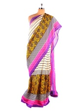 Elegant White And Purple Printed Bhagalpuri Silk Saree With Blouse Piece - Riti Riwaz