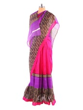 Fabulous Pink Printed Bhagalpuri Silk Saree With Blouse Piece - Riti Riwaz