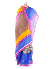 Ultimate Printed Bhagalpuri Silk Saree With Blouse Piece - Riti Riwaz