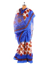 Floral Printed Blue Bhagalpuri Silk Saree With Blouse Piece - Riti Riwaz
