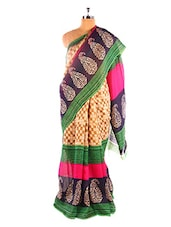 Gorgeous Green Printed Bhagalpuri Silk Saree With Blouse Piece - Riti Riwaz