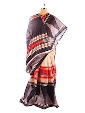 Elegant And Stylish Printed Bhagalpuri Silk Saree With Blouse Piece - Riti Riwaz