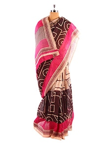 Pink And Brown Bhagalpuri Silk Saree - Riti Riwaz
