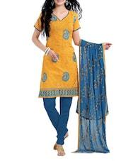 Yellow And Dark Blue Dress Material - Riti Riwaz