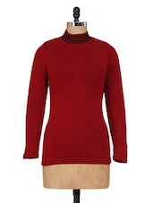 Red High-Neck Knitted Top - Renka