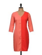 Coral And Orange Full-sleeved Dress - Meira