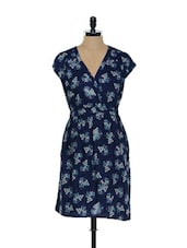 Overlapping V-Neck Floral Printed Blue Dress - Ozel Studio