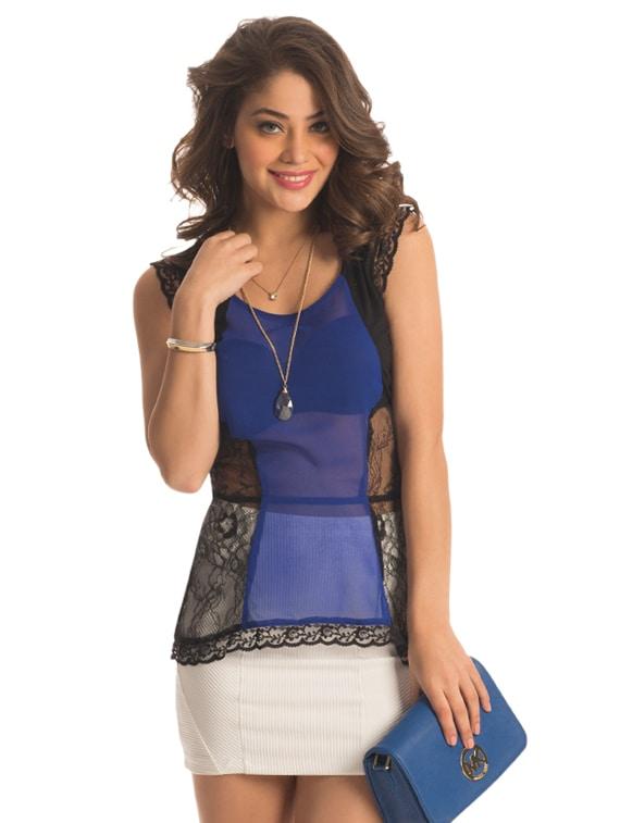 Cobalt Panel Lace Top - PrettySecrets